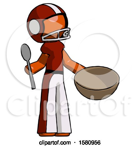 Orange Football Player Man with Empty Bowl and Spoon Ready to Make Something by Leo Blanchette