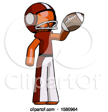 Orange Football Player Man Holding Football up by Leo Blanchette