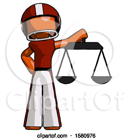 Orange Football Player Man Holding Scales of Justice by Leo Blanchette