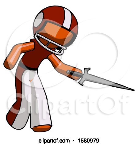 Orange Football Player Man Sword Pose Stabbing or Jabbing by Leo Blanchette