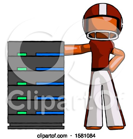 Orange Football Player Man with Server Rack Leaning Confidently Against It by Leo Blanchette