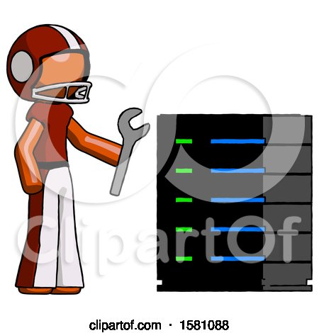 Orange Football Player Man Server Administrator Doing Repairs by Leo Blanchette