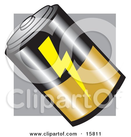 D Battery With A Lightning Symbol And Gold And Black Clipart Illustration by Andy Nortnik