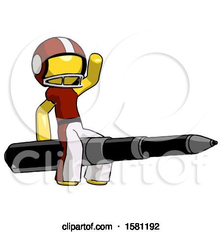 Yellow Football Player Man Riding a Pen like a Giant Rocket by Leo Blanchette