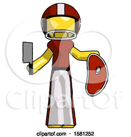 Yellow Football Player Man Holding Large Steak with Butcher Knife by Leo Blanchette