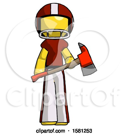Yellow Football Player Man Holding Red Fire Fighter's Ax by Leo Blanchette