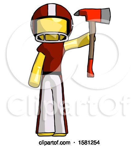 Yellow Football Player Man Holding up Red Firefighter's Ax by Leo Blanchette