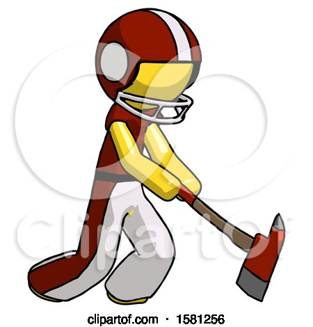 Yellow Football Player Man Striking with a Red Firefighter's Ax by Leo Blanchette
