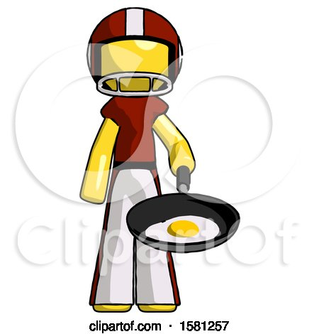 Yellow Football Player Man Frying Egg in Pan or Wok by Leo Blanchette