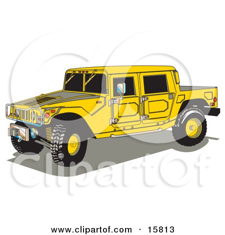 Big Yellow Hummer H2 Vehicle With A Truck Bed Clipart Illustration by Andy Nortnik