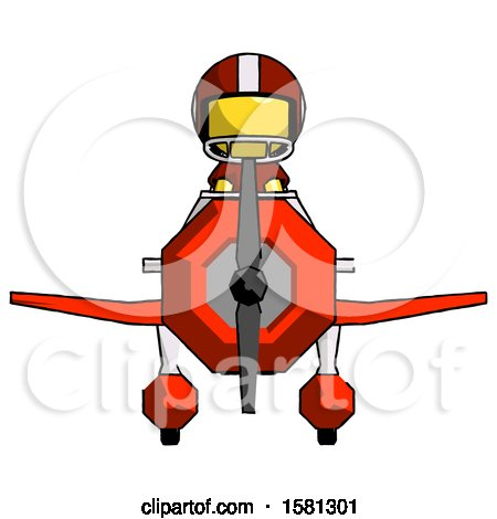 Yellow Football Player Man in Geebee Stunt Plane Front View by Leo Blanchette