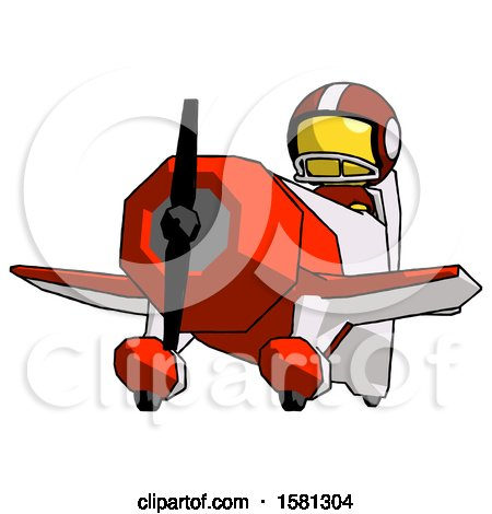 Yellow Football Player Man Flying in Geebee Stunt Plane Viewed from Below by Leo Blanchette