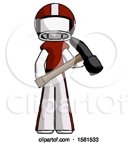 White Football Player Man Holding Hammer Ready to Work by Leo Blanchette