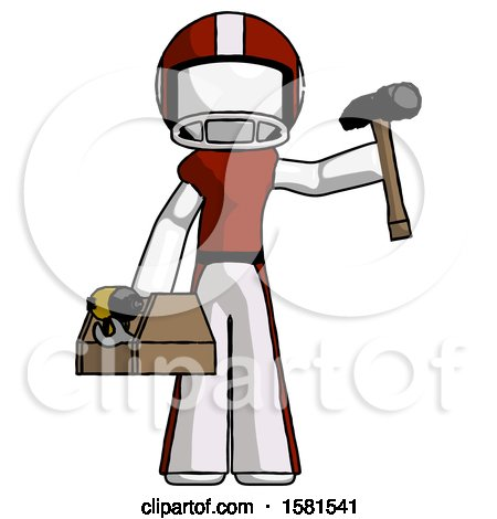 White Football Player Man Holding Tools and Toolchest Ready to Work by Leo Blanchette