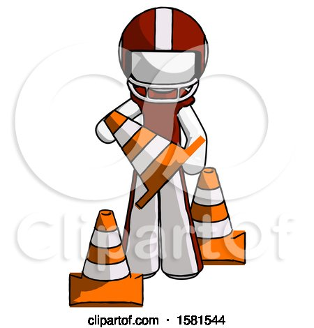 White Football Player Man Holding a Traffic Cone by Leo Blanchette