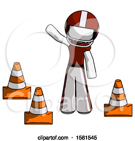 White Football Player Man Standing by Traffic Cones Waving by Leo Blanchette
