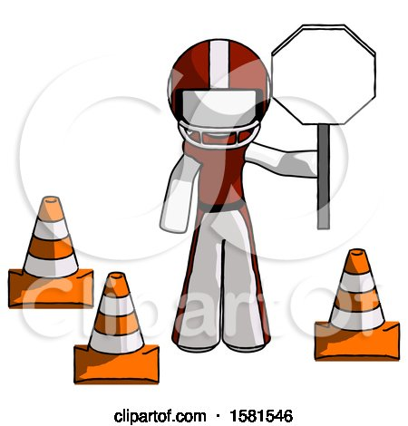 White Football Player Man Holding Stop Sign by Traffic Cones Under Construction Concept by Leo Blanchette