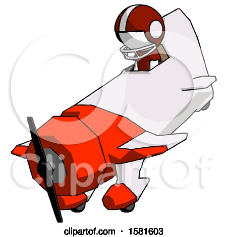 White Football Player Man in Geebee Stunt Plane Descending View by Leo Blanchette