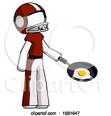 White Football Player Man Frying Egg in Pan or Wok Facing Right by Leo Blanchette