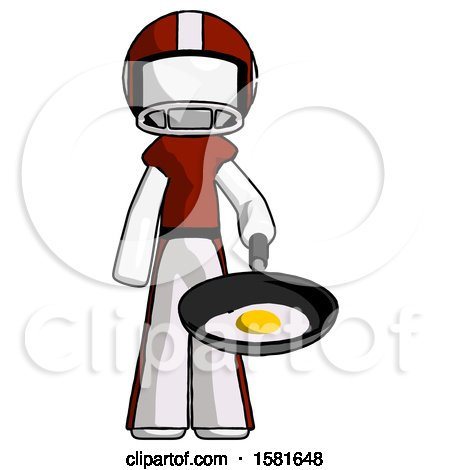 White Football Player Man Frying Egg in Pan or Wok by Leo Blanchette