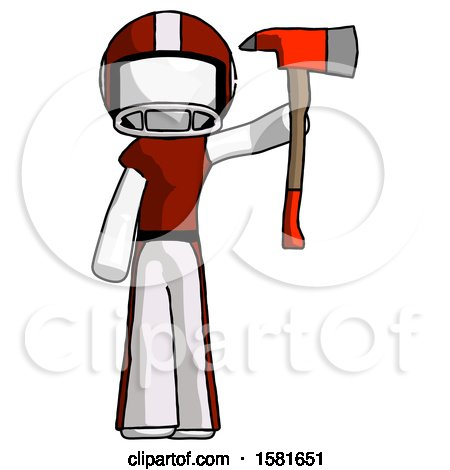 White Football Player Man Holding up Red Firefighter's Ax by Leo Blanchette