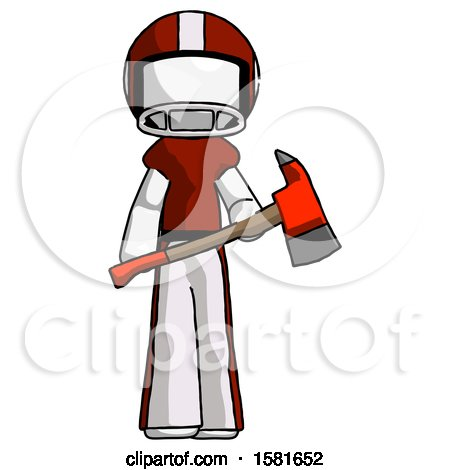 White Football Player Man Holding Red Fire Fighter's Ax by Leo Blanchette