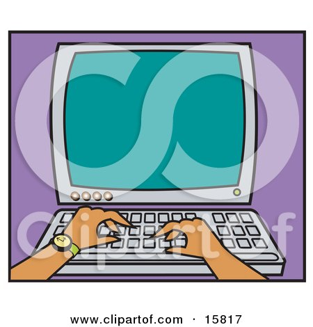 Person's Hand With A Wristwatch Typing On A Computer Posters, Art Prints