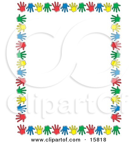 Border Of Colorful Hand Prints Over White Clipart Illustration by Andy Nortnik