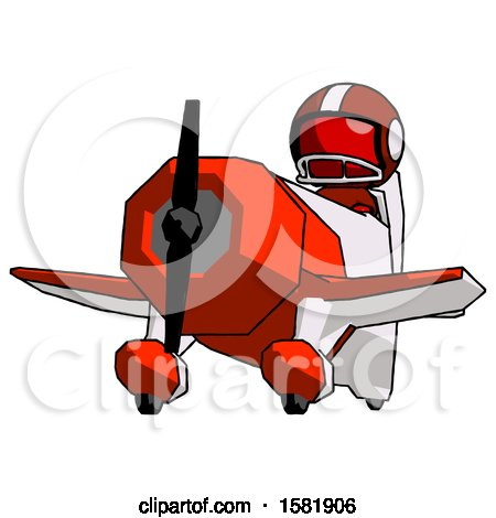 Red Football Player Man Flying in Geebee Stunt Plane Viewed from Below by Leo Blanchette
