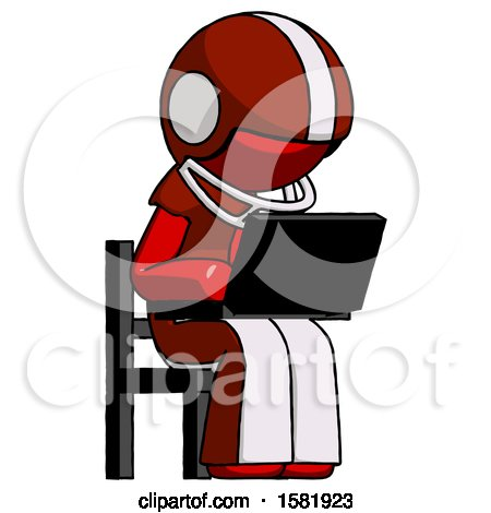 Red Football Player Man Using Laptop Computer While Sitting in Chair Angled Right by Leo Blanchette