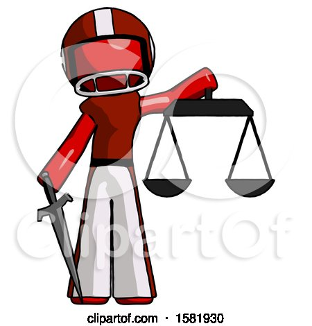 Red Football Player Man Justice Concept with Scales and Sword, Justicia Derived by Leo Blanchette