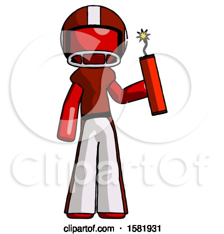 Red Football Player Man Holding Dynamite with Fuse Lit by Leo Blanchette