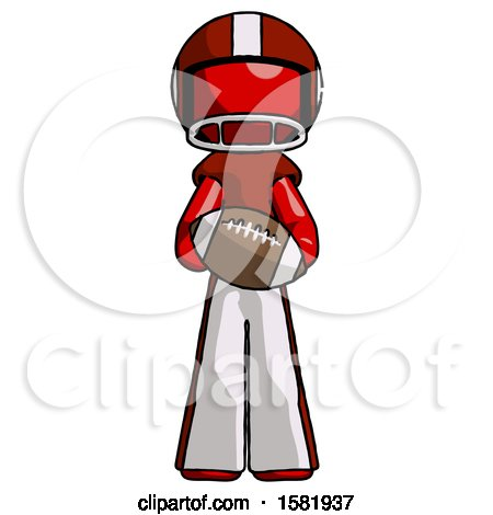 Red Football Player Man Giving Football to You by Leo Blanchette