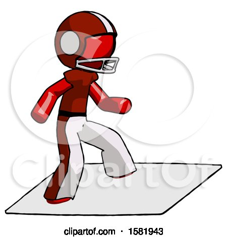 Red Football Player Man on Postage Envelope Surfing by Leo Blanchette