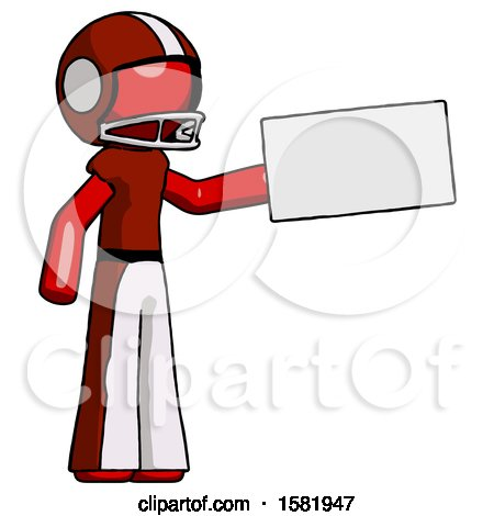 Red Football Player Man Holding Large Envelope by Leo Blanchette