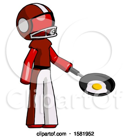 Red Football Player Man Frying Egg in Pan or Wok Facing Right by Leo Blanchette