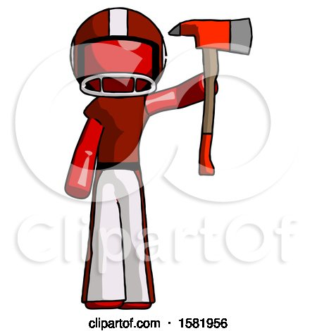 Red Football Player Man Holding up Red Firefighter's Ax by Leo Blanchette