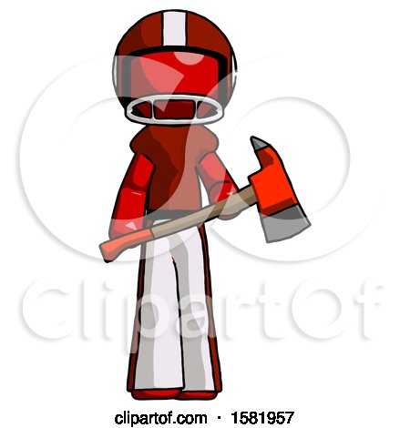 Red Football Player Man Holding Red Fire Fighter's Ax by Leo Blanchette