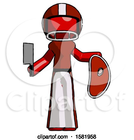Red Football Player Man Holding Large Steak with Butcher Knife by Leo Blanchette