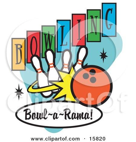 Bowling Ball Hitting Bowling Pins Clipart Illustration