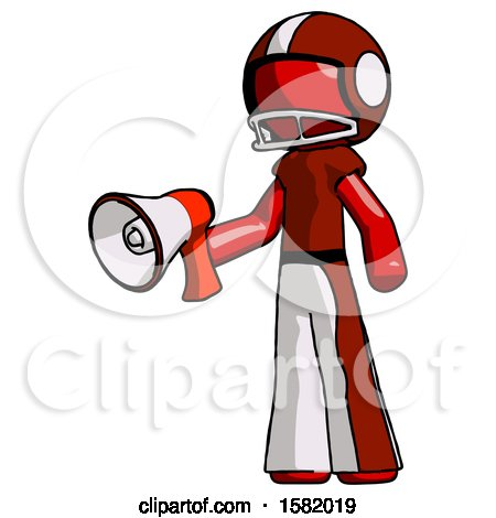 Red Football Player Man Holding Megaphone Bullhorn Facing Right by Leo Blanchette