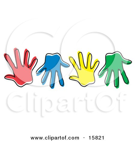 Row Of Different Colored Hand Prints Clipart Illustration by Andy Nortnik