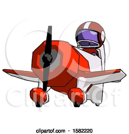 Purple Football Player Man Flying in Geebee Stunt Plane Viewed from Below by Leo Blanchette