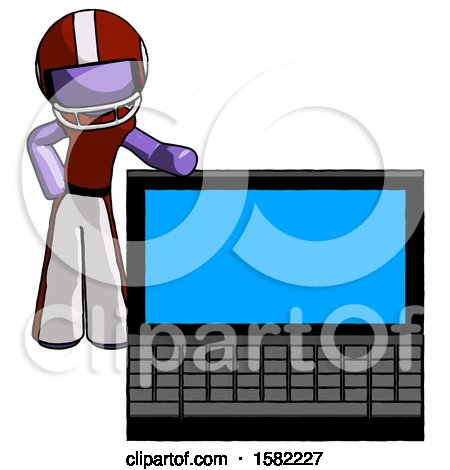 Purple Football Player Man Beside Large Laptop Computer, Leaning Against It by Leo Blanchette