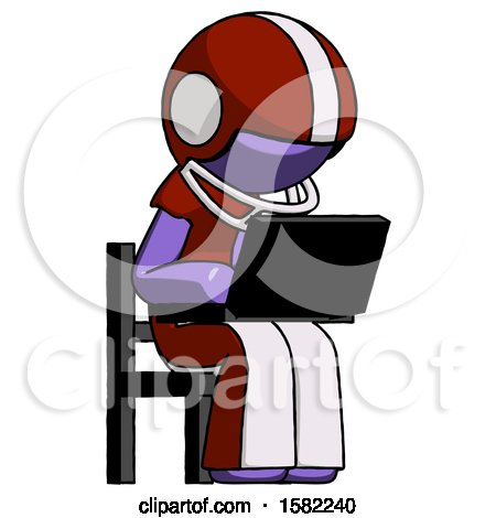 Purple Football Player Man Using Laptop Computer While Sitting in Chair Angled Right by Leo Blanchette