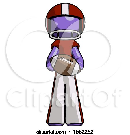 Purple Football Player Man Giving Football to You by Leo Blanchette