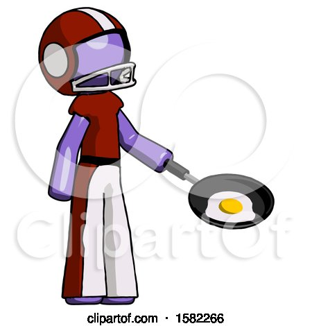 Purple Football Player Man Frying Egg in Pan or Wok Facing Right by Leo Blanchette