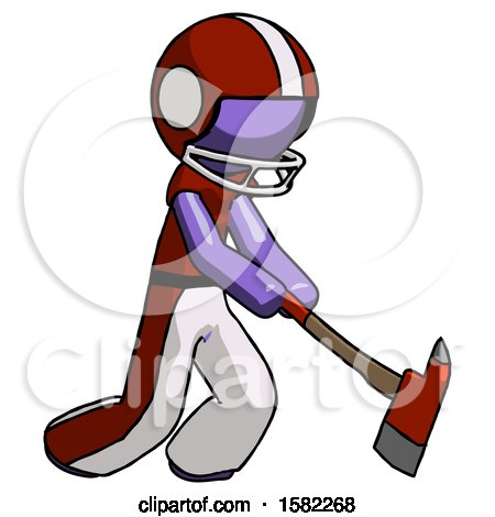Purple Football Player Man Striking with a Red Firefighter's Ax by Leo Blanchette