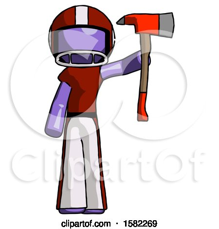 Purple Football Player Man Holding up Red Firefighter's Ax by Leo Blanchette