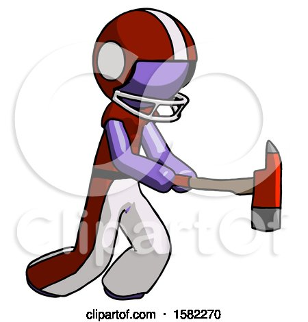 Purple Football Player Man with Ax Hitting, Striking, or Chopping by Leo Blanchette